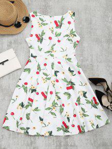 L Floral Vuelo Vestido Con Cereza Sin Con De Estampado Blanco Manga YPYT5qxwvO