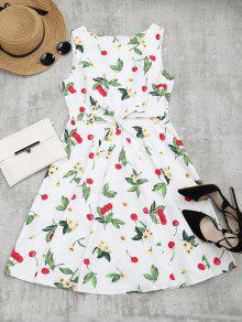 فستان طباعة كرز الأزهار بلا أكمام توهج - أبيض Xl
