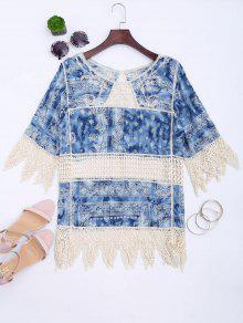 Printed Crochet Panel Zigzag Hem Blouse - Blue