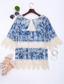 De Zigzag Ganchillo Impreso Pantal Azul Blusa 243;n Hem IqBxqE5w