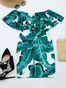 Leaves Print Flounce Fitted Dress - Deep Green L