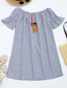 Flare Sleeve Striped Dress With Tassels - Stripe L