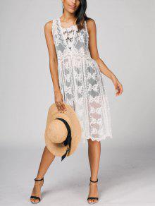 Sleeveless Sheer Mesh Dress - White