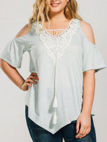 Striped Cold Shoulde Plus Size Peasant Blouse - Light Green 3xl