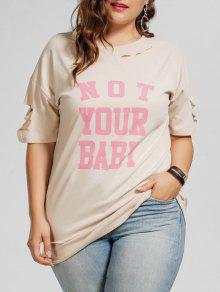 Plus Size Cutout Letter T-Shirt - Apricot Xl