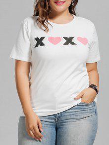 Plus Size Heart Letter T-Shirt - White 5xl
