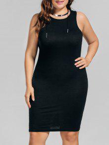 Plus Size Casual Tank Dress - Black 3xl
