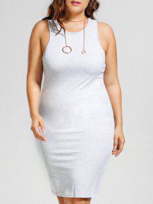 Plus Size Casual Tank Dress - Light Gray 5xl