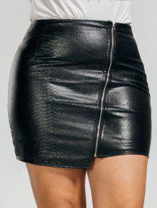 تنورة الحجم الكبير غير متماثل بجلد اصطناعي - أسود 2xl