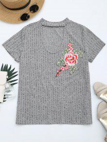 Floral Patched Cut Out Heathered Tee - Heather Gray Xl