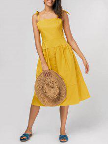 فستان ربطة الكتف ملائم وتوهج ميدي - الأصفر Xl