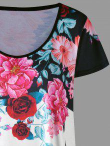 c619dc0c108f7 30% OFF  2019 Plus Size Floral Longline T-shirt In COLORMIX 2XL