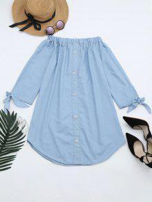 Off The Shoulder Button Embellished Dress - Light Blue L