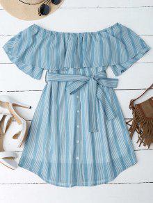 فستان بلا اكتاف مخطط - أزرق 2xl