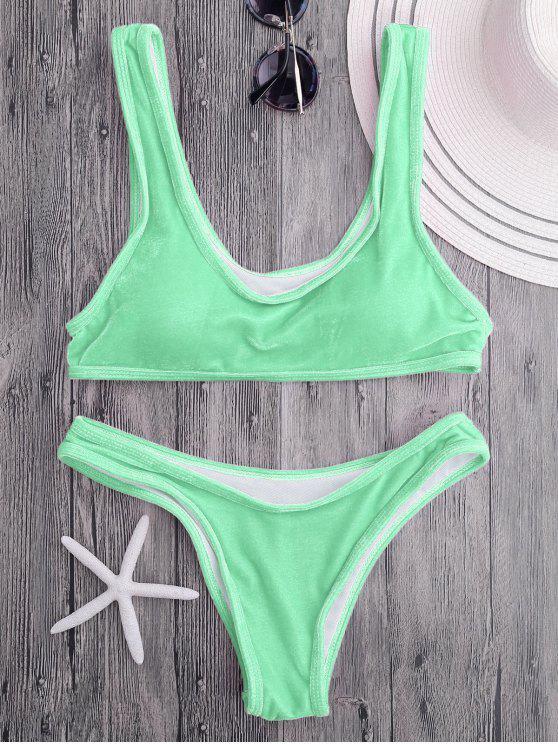 Conjunto de bikini de cucharada de terciopelo Bralette - Verde Manzana S