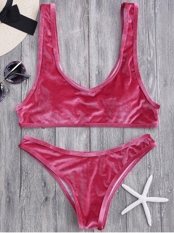 trendy Velvet Bralette Scoop Bikini Set - CLARET M