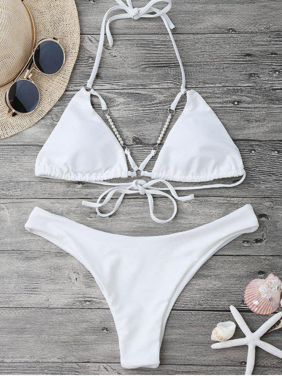 Bikini de corte alto Halterneck con cuentas - Blanco M