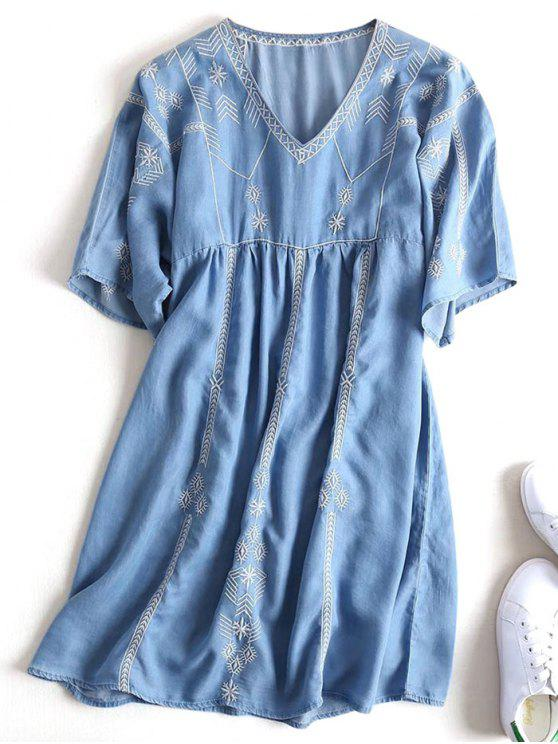 women Embroidered Casual Shift Dress - DENIM BLUE M
