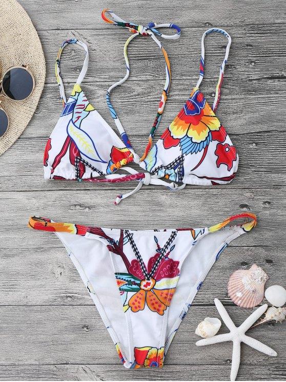 Juego de bikini estampado Strappy String - Blanco S