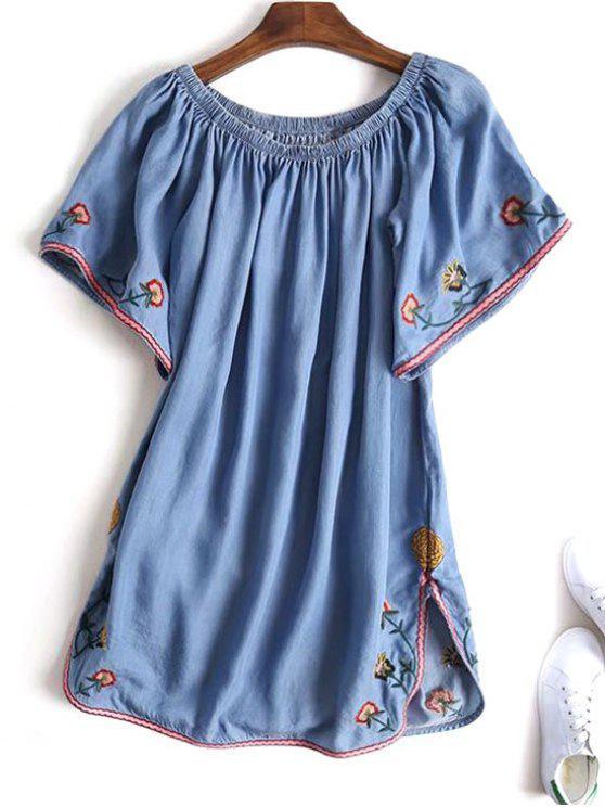 Slit bordado de hombro mini vestido - Denim Blue M