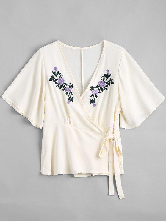 cc616060ada5db 26% OFF] 2019 Floral Embroidered Ruffles Wrap Top In OFF-WHITE | ZAFUL