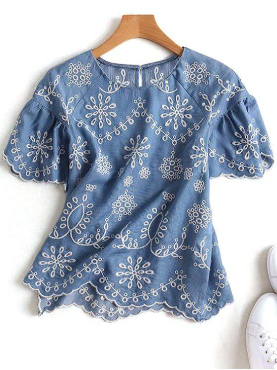 fancy Embroidered Scalloped Top - DENIM BLUE M