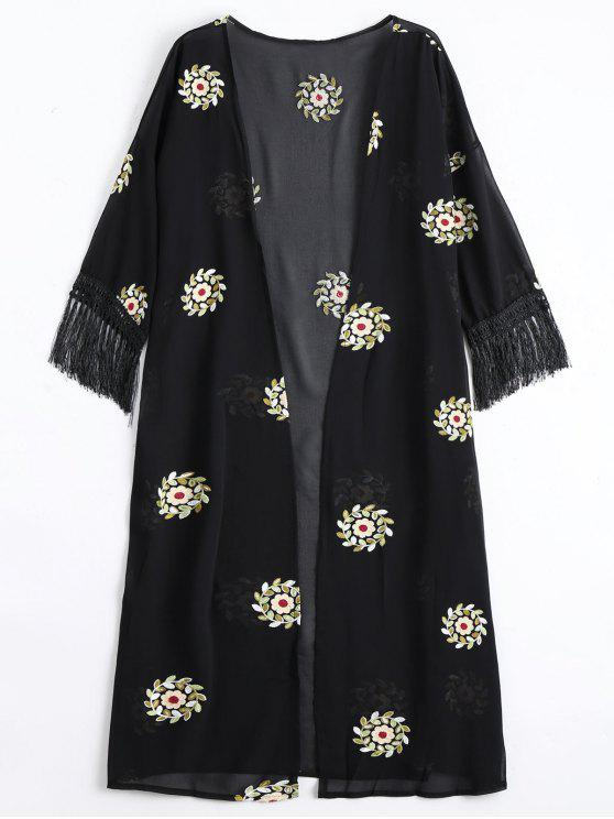 buy Floral Patched Fringed Longline Blouse - BLACK ONE SIZE