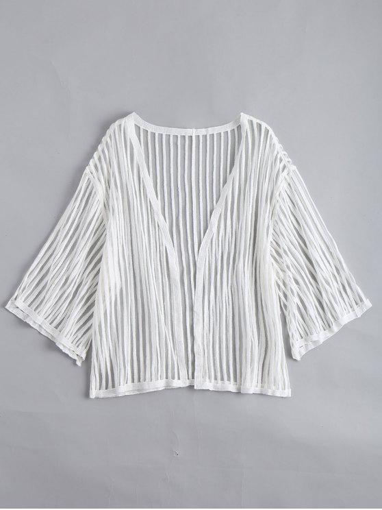 women Open Front Semi Sheer Striped Blouse - WHITE ONE SIZE