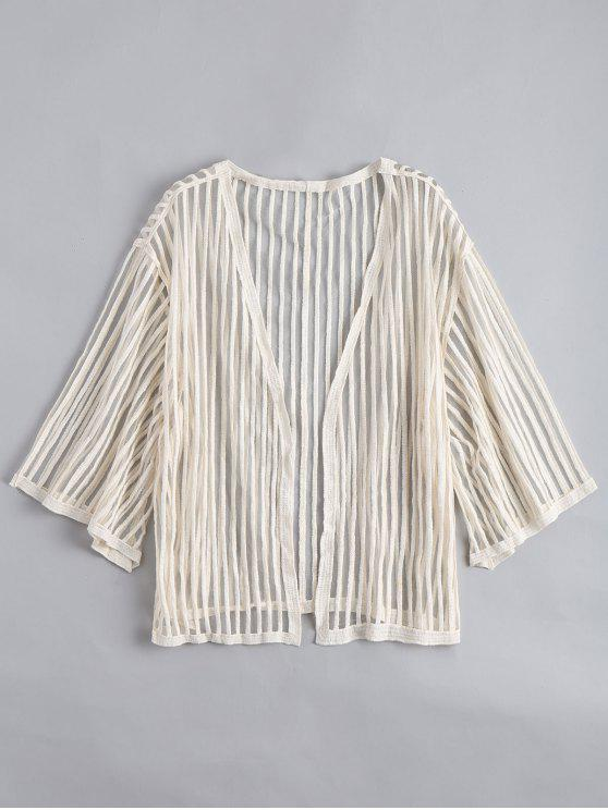 ladies Open Front Semi Sheer Striped Blouse - APRICOT ONE SIZE