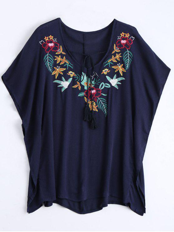 Floral Pacthed Butterfly Sleeve Blusa - Azul Purpúreo Única Talla