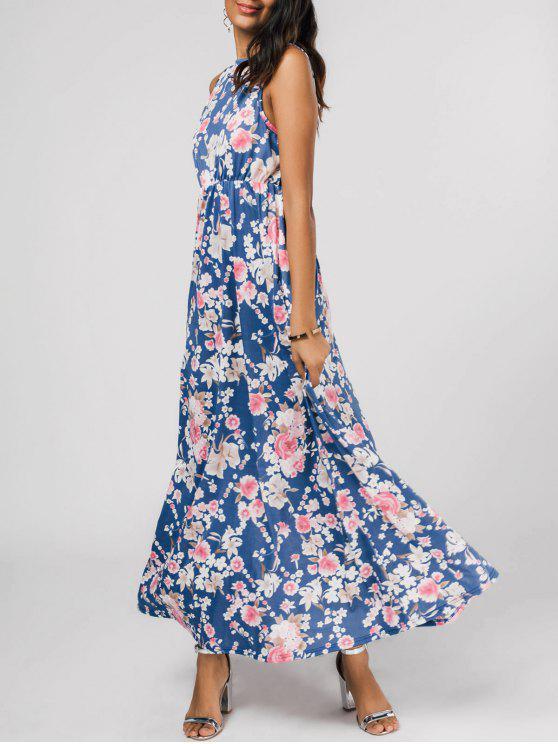 فستان طباعة الازهار بلا أكمام ماكسي - الأزهار S