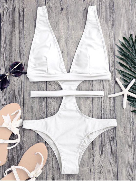 buy Cut Out Plunging Neck Bandage Swimwear - WHITE S