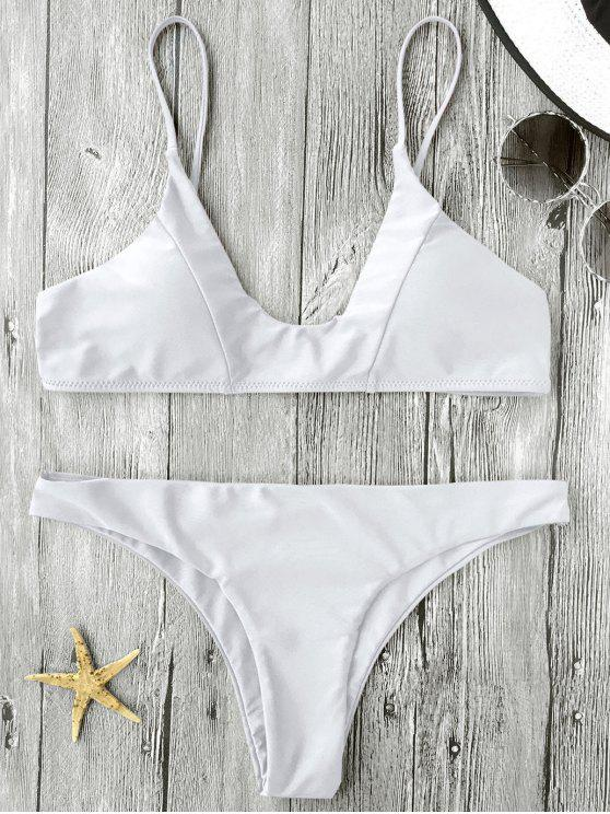 Traje de Bikini de Tirante Fino con Relleno - Blanco S