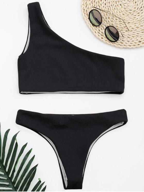 lady Ribbed Texture One Shoulder Bikini - BLACK M