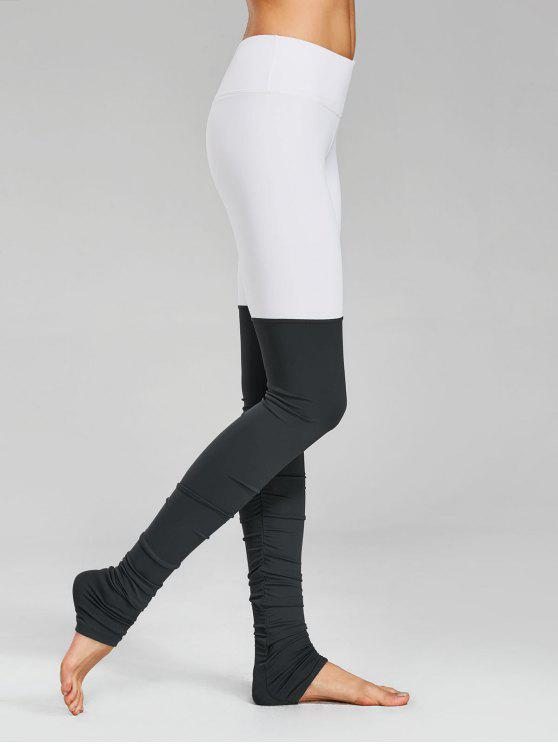sale Color Block Ruched Overlength Sporty Leggings - GREY AND WHITE L