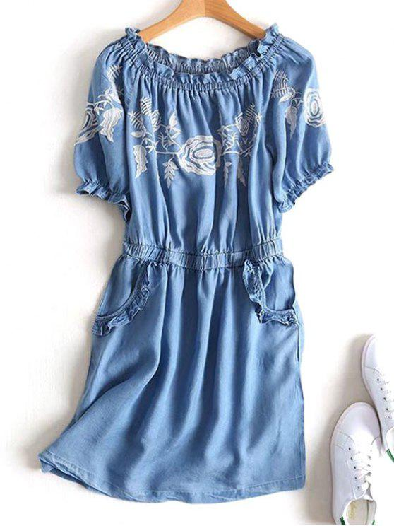 women Off Shoulder Ruffles Embroidered Casual Dress - DENIM BLUE L