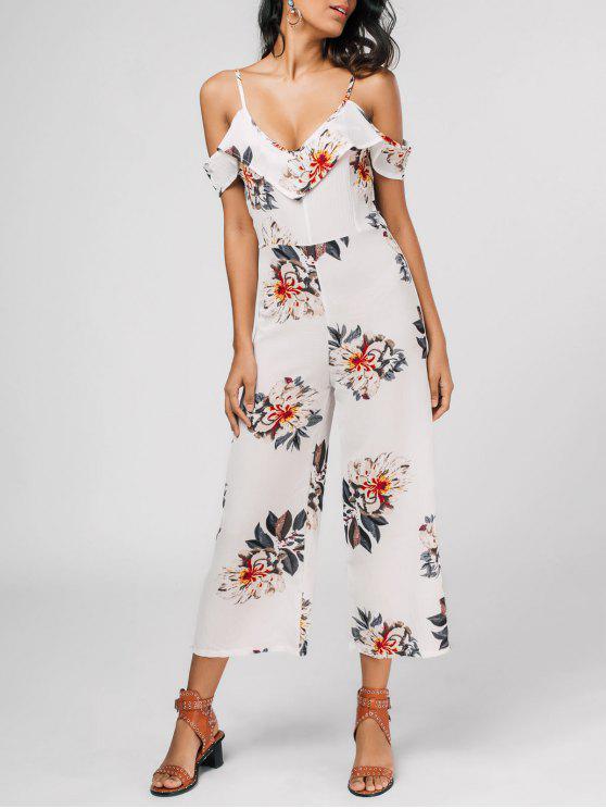 Combinaison à bretelle imprimés de motif floral avec falbalas - Floral XL