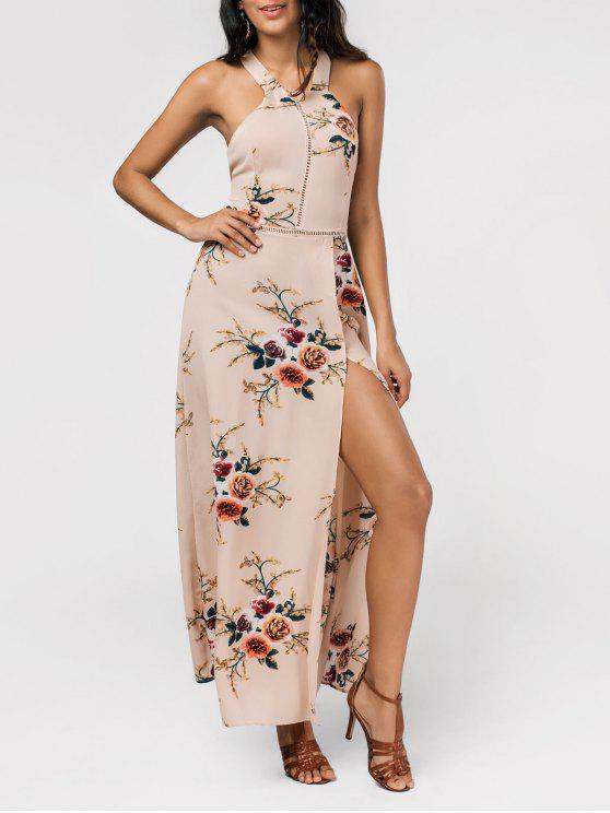 فستان طباعة الأزهار عالية الشق عارية الظهر ماكسي - ضوء كاكي L