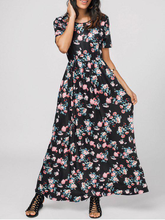 فستان دائرة الرقبة طباعة الأزهار ماكسي - الأزهار S