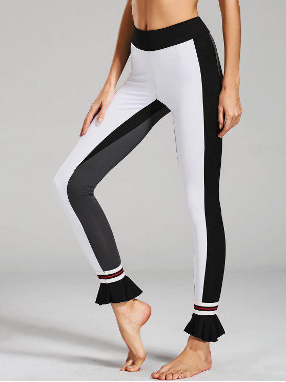 hot Ruffles Hem Color Block Active Leggings - WHITE M