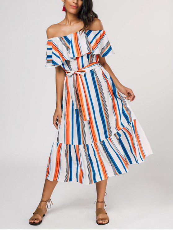latest Flounce Striped Belted Dress - STRIPE ONE SIZE