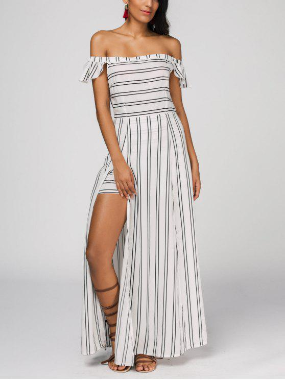 outfit Off The Shoulder Slit Striped Maxi Dress - STRIPE S