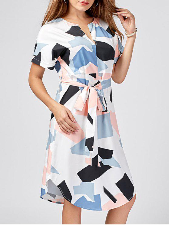 shop Split-neck Graphic Dolphin Dress - COLORMIX 2XL