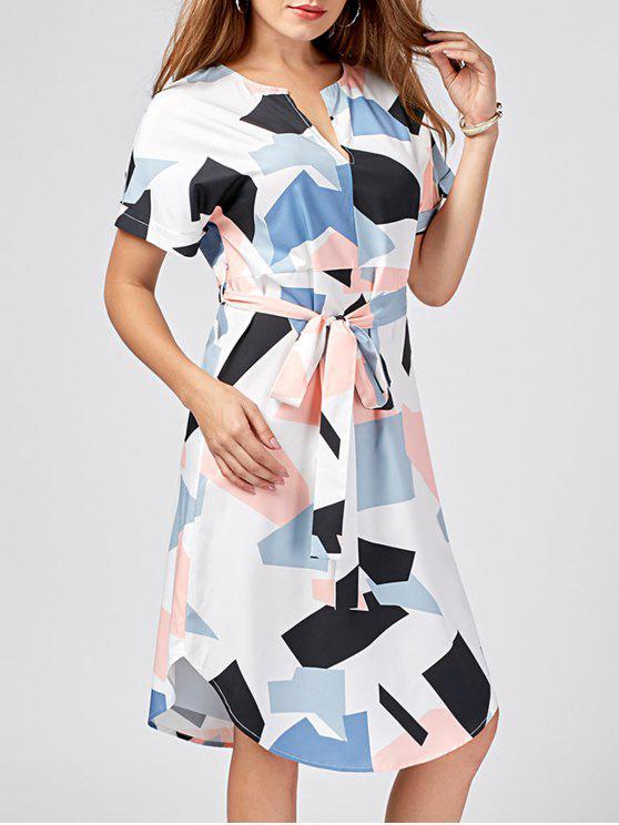 shop Split-neck Graphic Dolphin Dress - COLORMIX 2XL