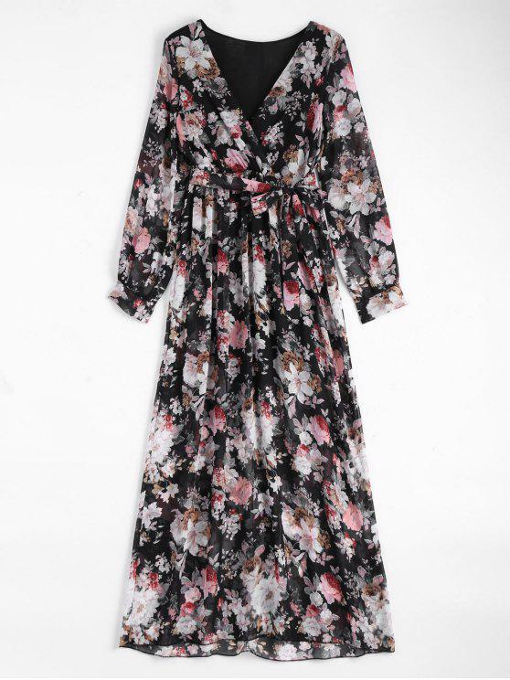 latest Floral Belted Maxi Surplice Dress - BLACK S