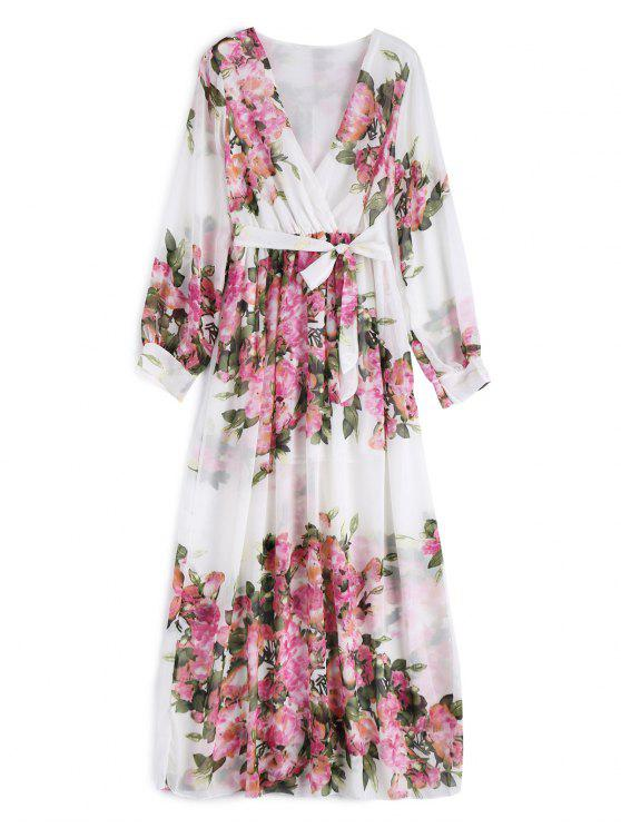 fashion Floral Belted Maxi Surplice Dress - WHITE 2XL