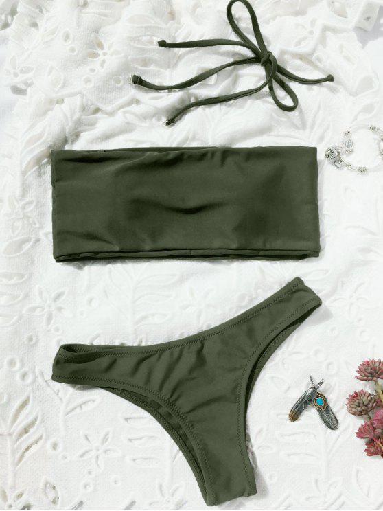 fashion High Cut Bandeau Thong Bathing Suit - ARMY GREEN S