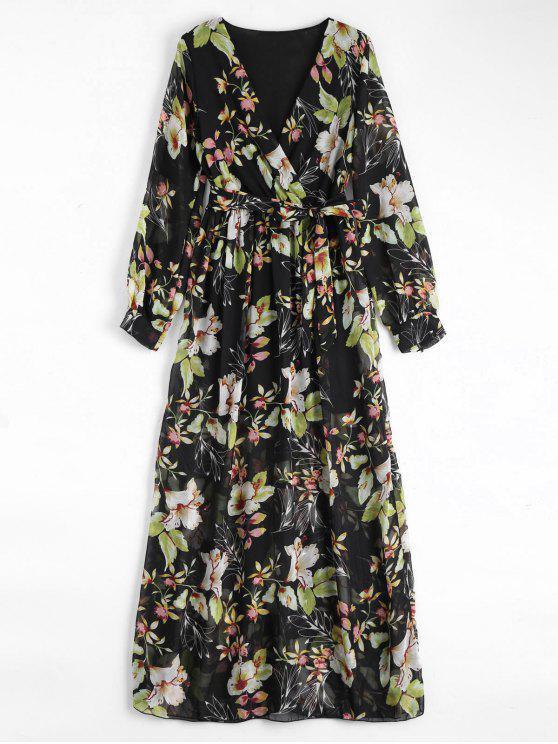 فستان زهري مربوط ماكسي كهنوتي - أسود L