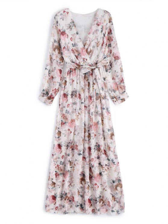 Vestido Maxi de Flores con Escote Cruzado con Cinturón - Blanco S