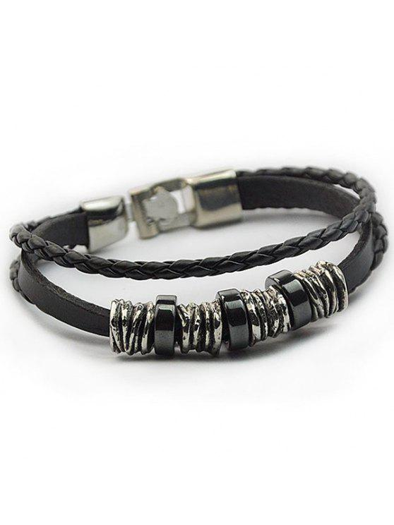 ladies Braided Faux Leather Wrap Bracelet - BLACK